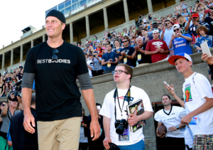 During the game, Brady played quarterback for Team Hublot and Team Natixis alongside Best Buddies participants, supporters, and special guests.