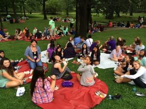 Lunch break on campus lawn