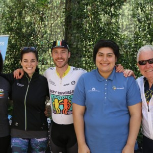 Alisa Stein, Samantha Corti, Sean Pantellere, Leticia Sanchez and Jim Hannon at the Best Buddies Challenge kickoff ride. Photo by David Mendez