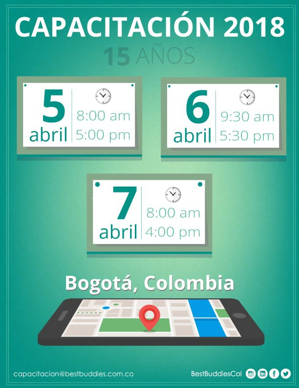 Best Buddies Colombia: Annual Staff Forum and 15th Year Anniversary flyer