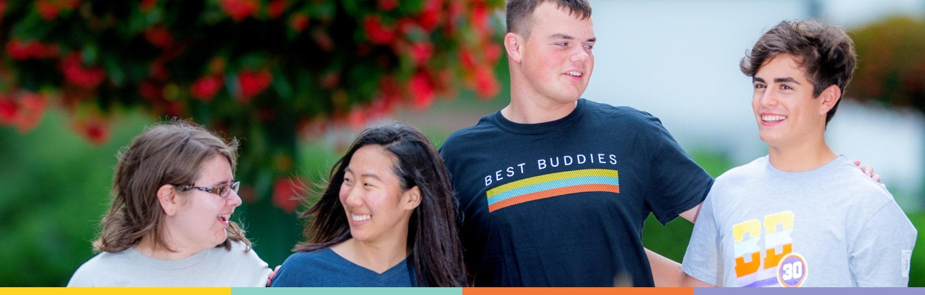 Best Buddies volunteers, walking together.
