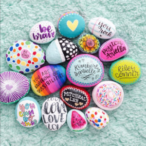 Painted rocks celebrating friendship