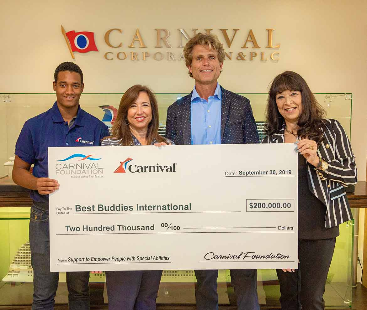 Check Presentation: Left to Right - Yoel Gallo, Best Buddies Jobs Participant, Christine Duffy, Carnival CEO, Anthony K. Shriver, Best Buddies International chairman, founder & CEO, Linda Coll, Carnival Foundation Executive Director