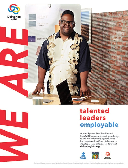 "Delivering Jobs PSA: ""We are talented, leaders, employable."" JT in image."