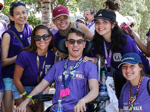 Large group of Best Buddies supporters at a Best Buddies Friendship Walk event