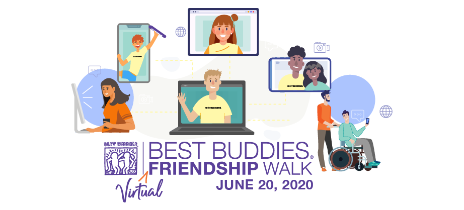 Best Buddies Virtual Walk Banner: Couples and People connecting through the use of computers