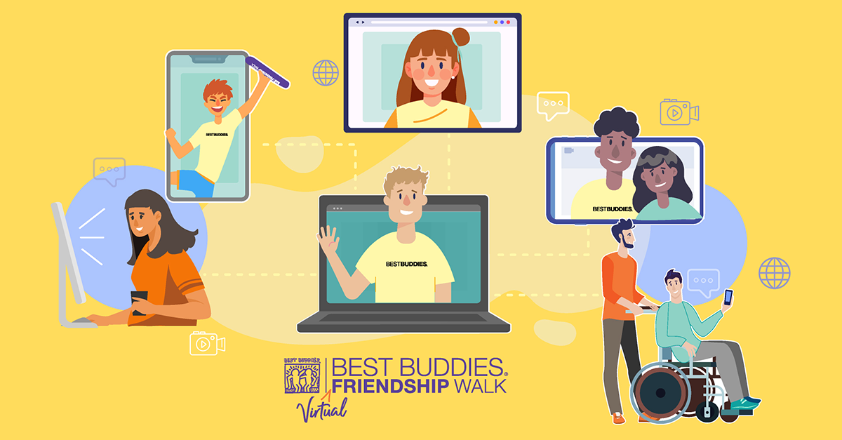Virtual Walk Banner with illustrations of people at their computers