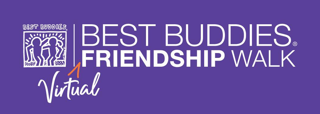 Best Buddies Virtual Friendship Walk Logo White on Purple Background