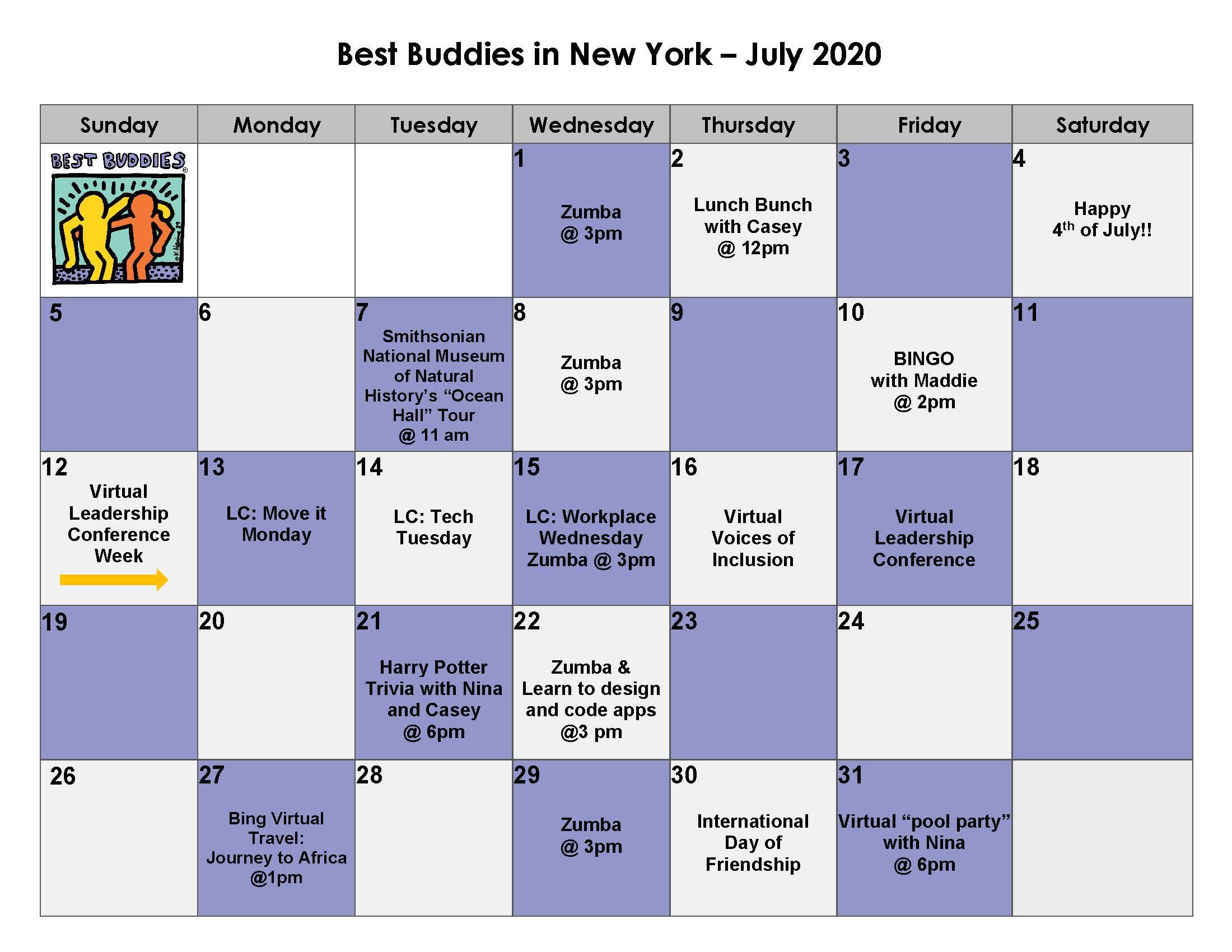 Best Buddies in New York July 2020 Calendar