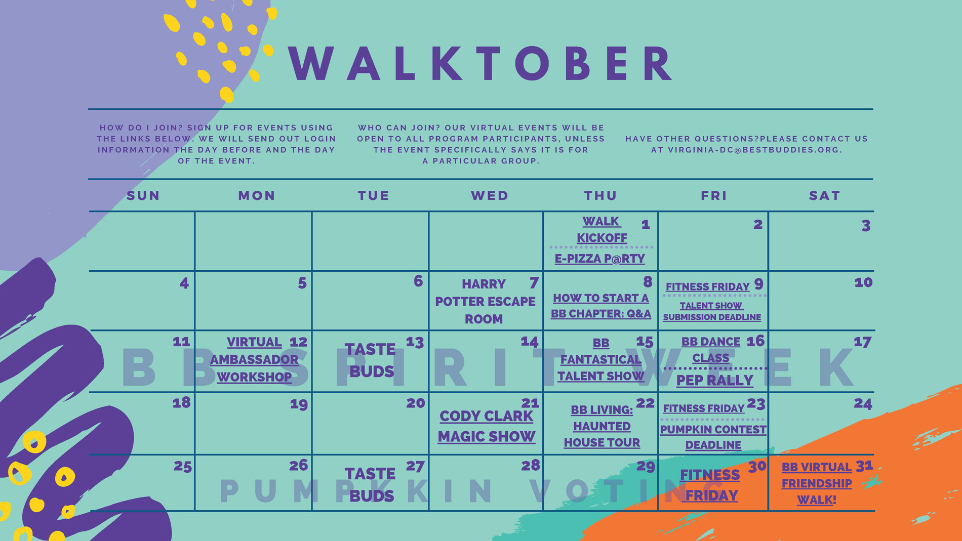 Best Buddies in VA & DC October Events Calendar