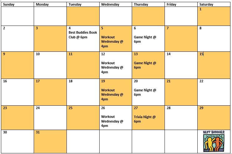 Best Buddies in Wisconsin August Virtual Activities Calendar
