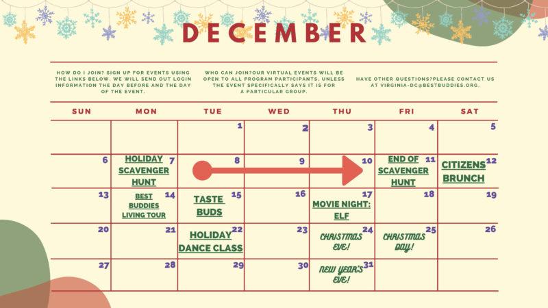 Best Buddies in VA & D.C. December 2020 Calendar