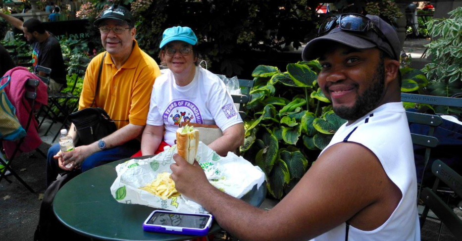 Best Buddies in New York participants enjoy a picnic in the park