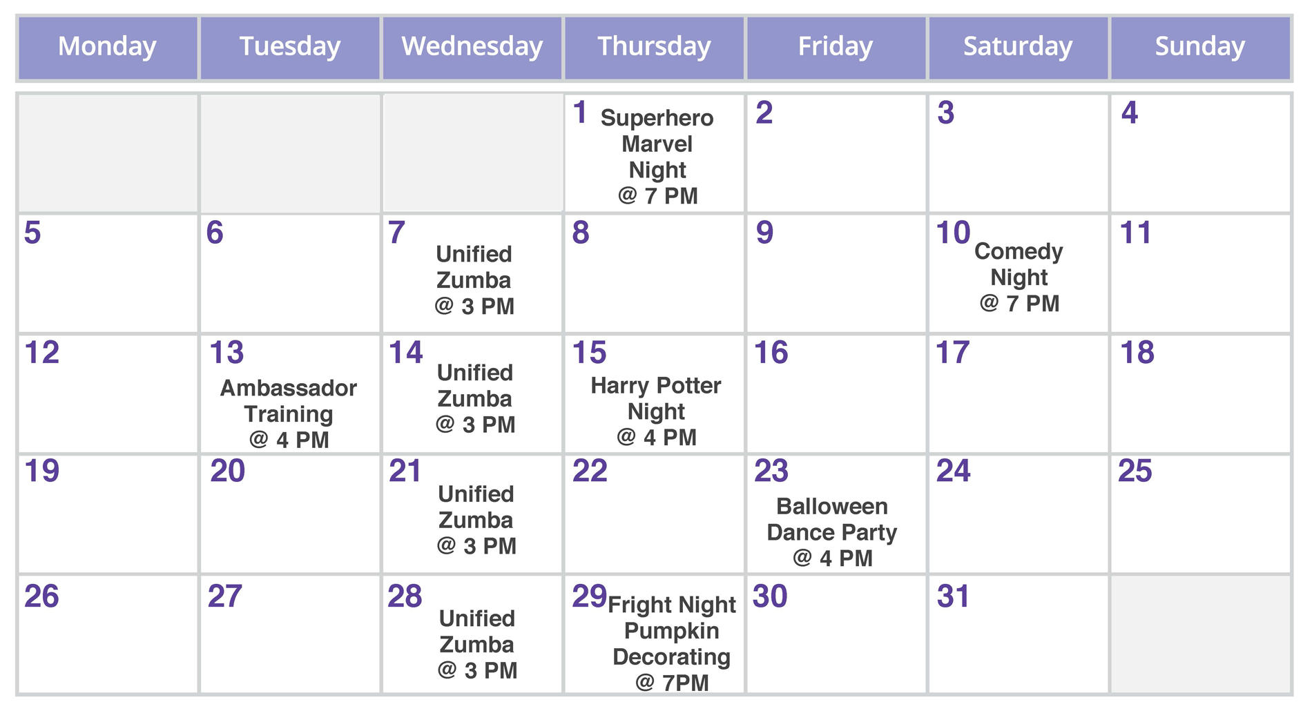 Best Buddies in New Hampshire October Events Calendar