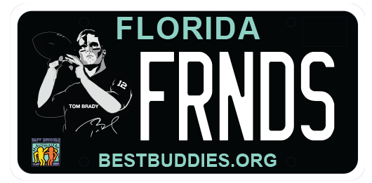 Best Buddies license plate featuring illustration of Tom Brady throwing a football