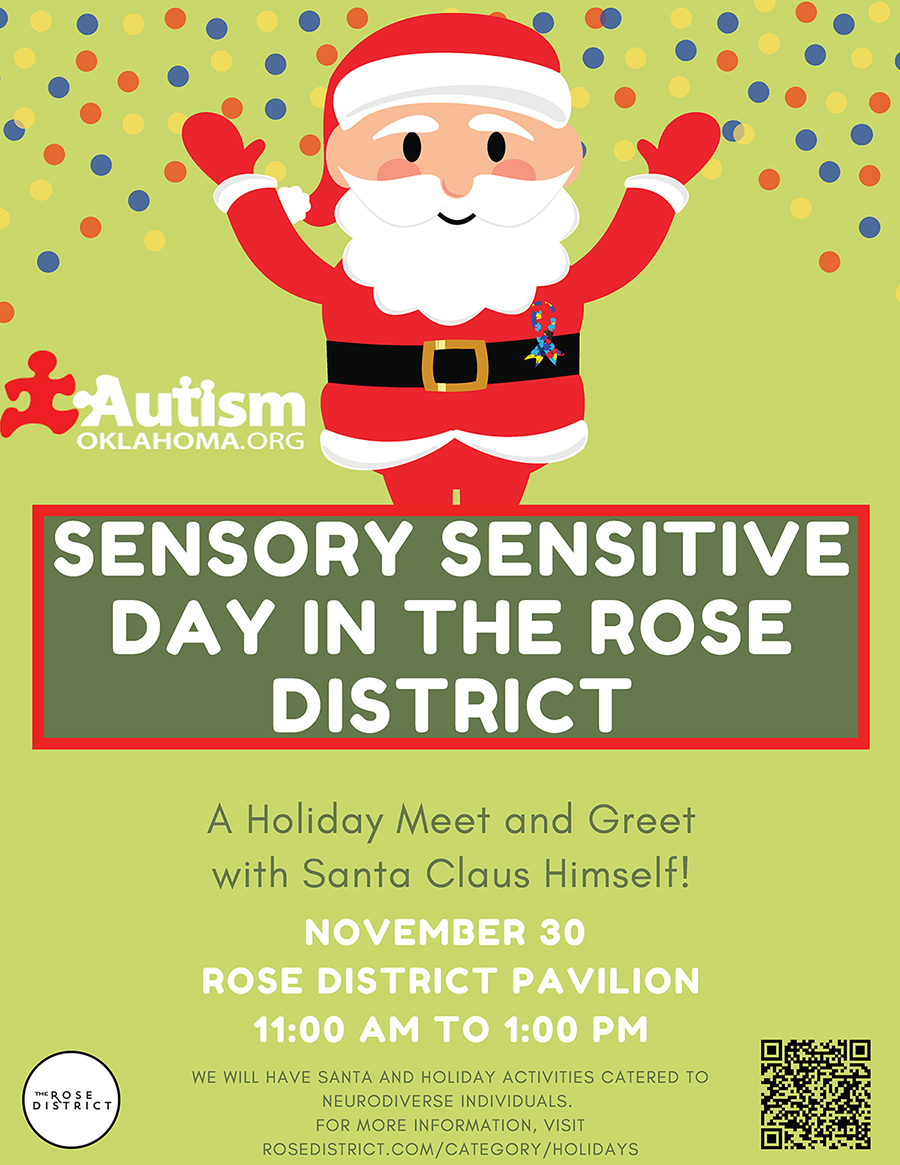 Sensory Sensitive Day in The Rose District Event : A holiday Meet and Greet with Santa Claus Himself! November 30, Rose District Pavilion, 11 AM to 1PM
