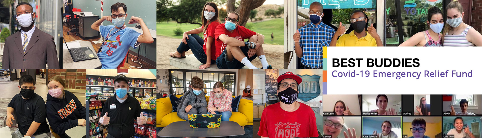 Collage of Best Buddies participants wearing masks