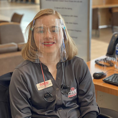 Female Best Buddies Jobs participant working with facemask on