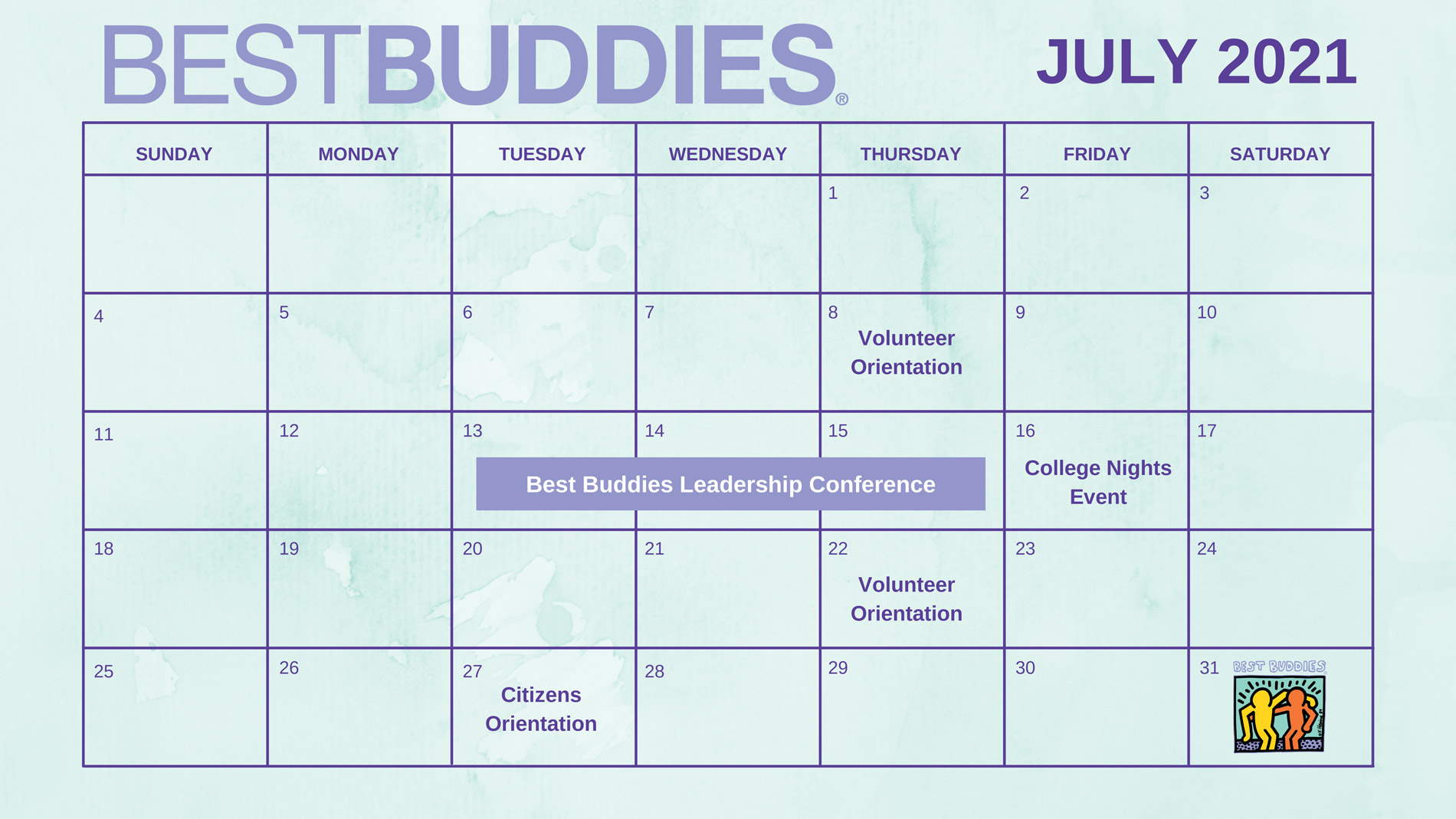 Best Buddies in California July Calendar