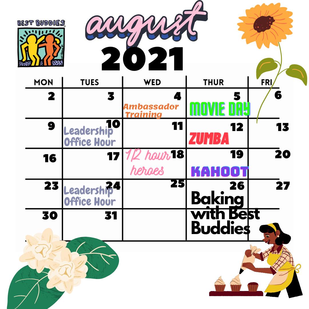 Best Buddies in Hawaii August Calendar