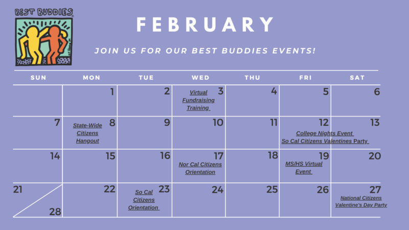 Best Buddies in California Virtual Events for February 2021