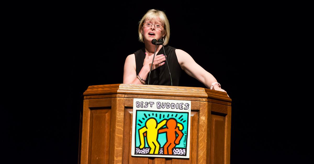 Best Buddies Ambassador Karen Gaffney speaking at the Best Buddies Leadership Conference