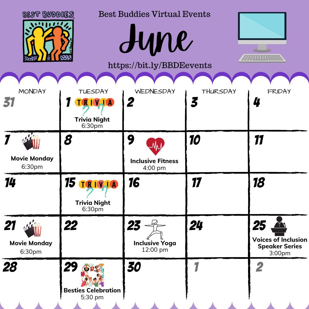 Best Buddies in Delaware June Calendar