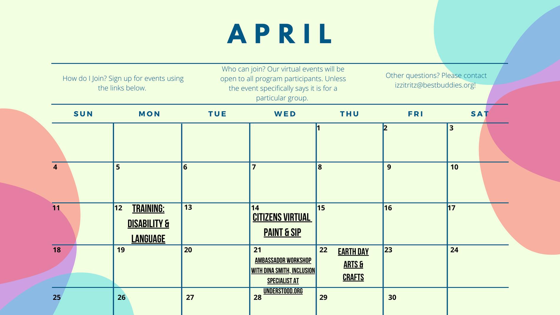 Best Buddies in North Carolina April Calendar