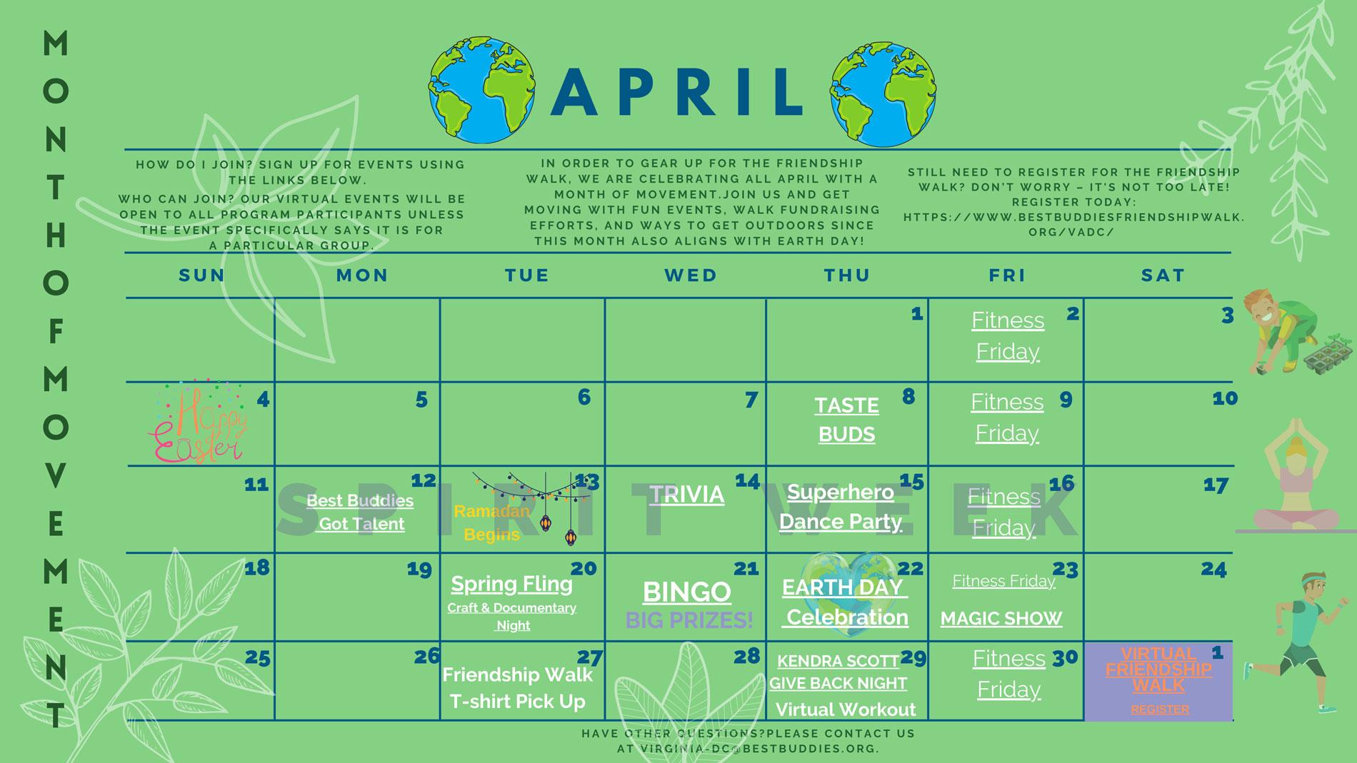 Best Buddies in VA & DC April Event Calendar