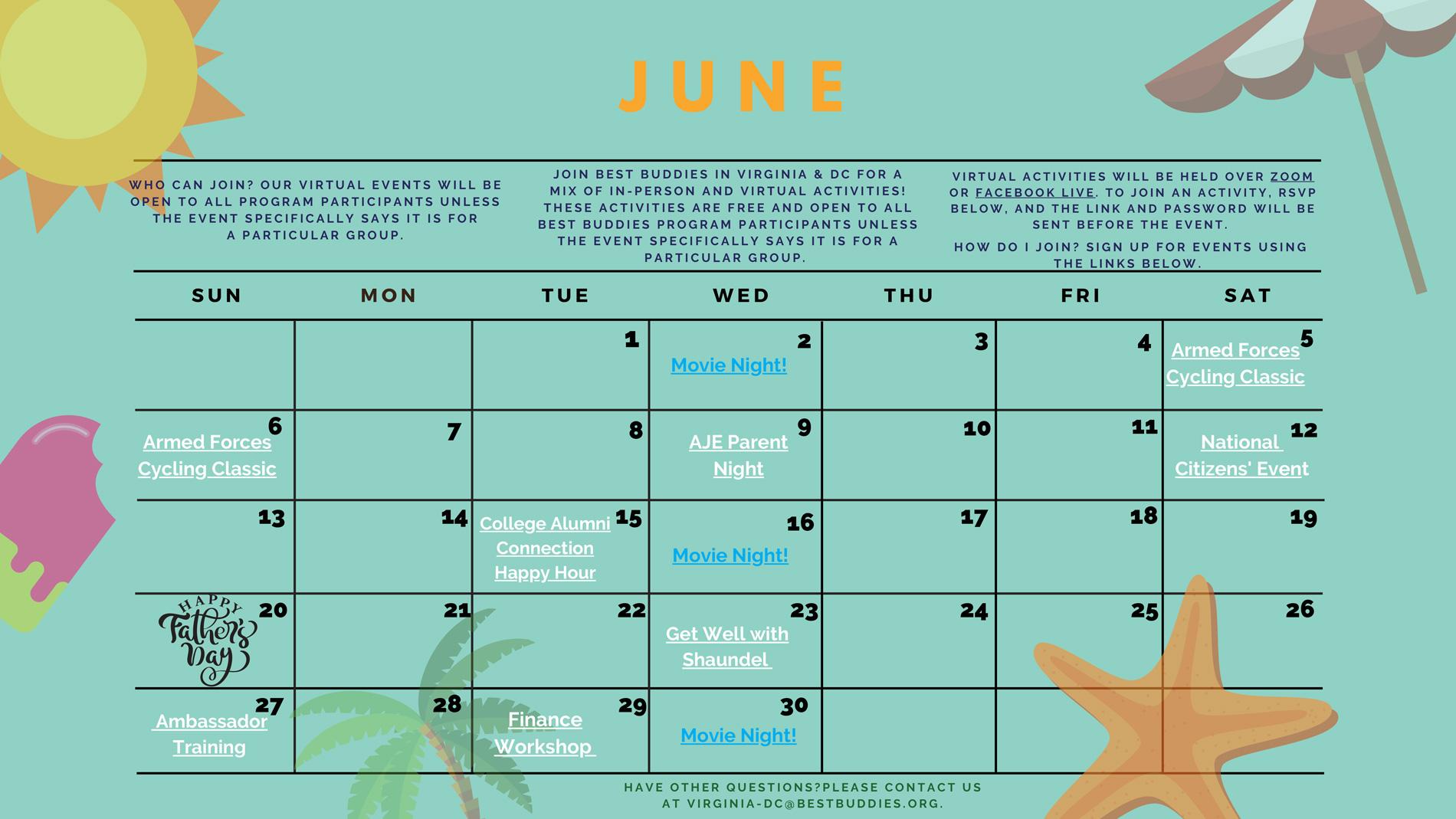 Best Buddies in VA & DC June Calendar