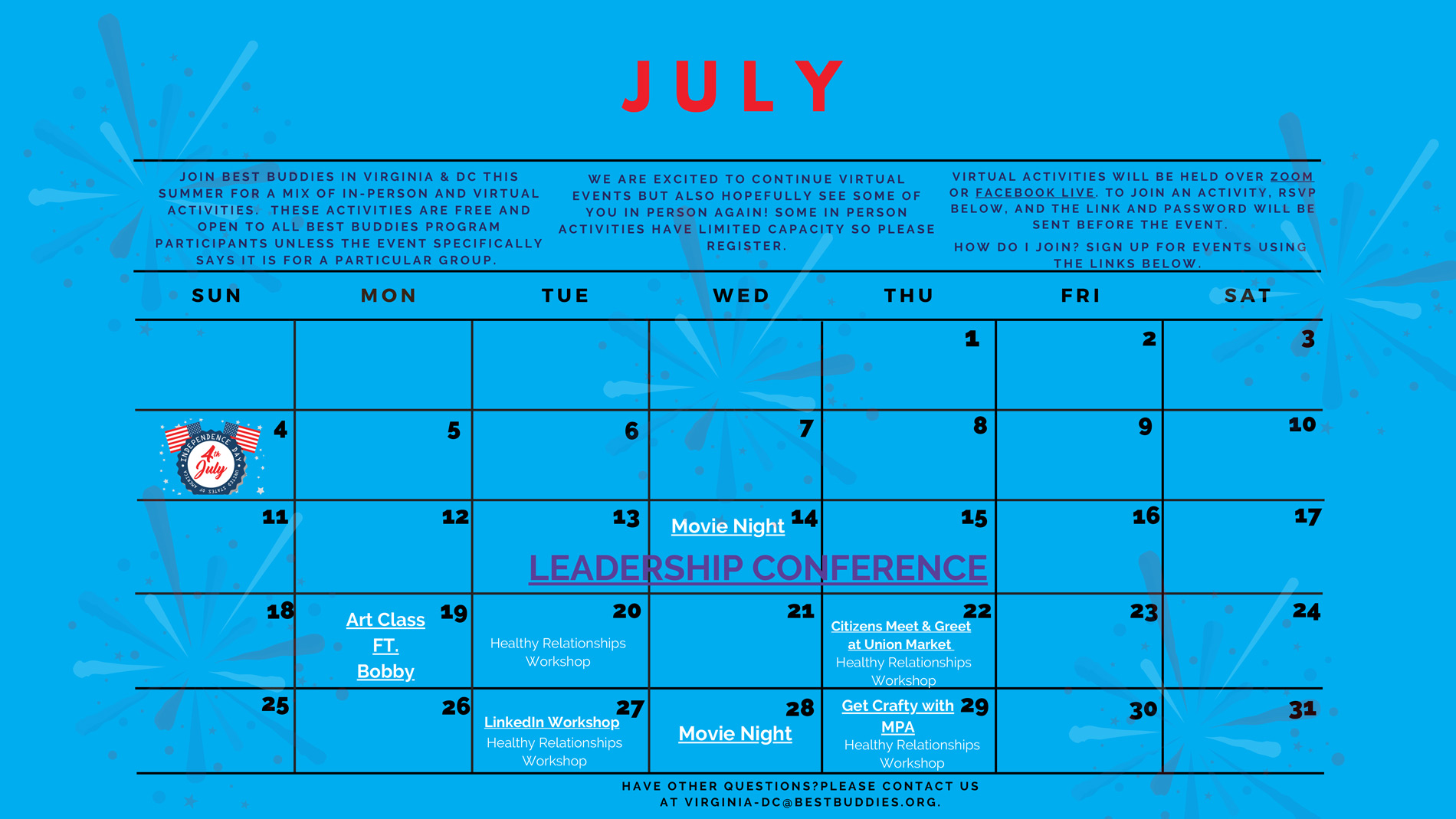 Best Buddies in VA/DC July Calendar