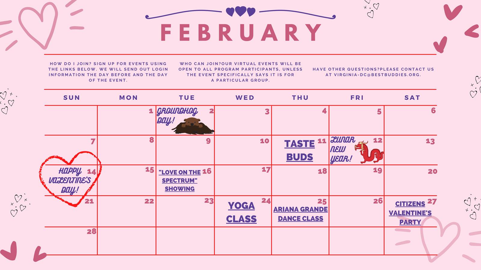 Best Buddies in VA & DC Event Calendar February 2021