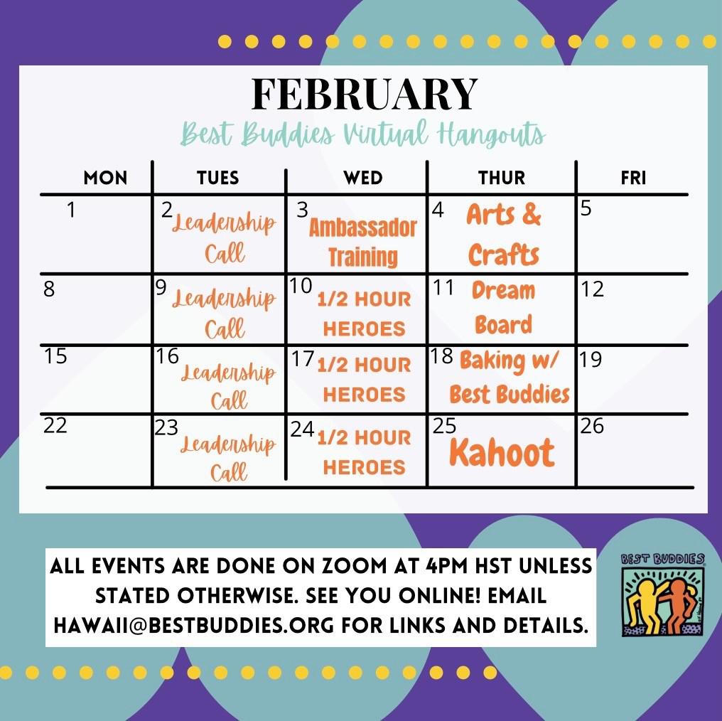 Best Buddies in Hawaii February 2021 Calendar