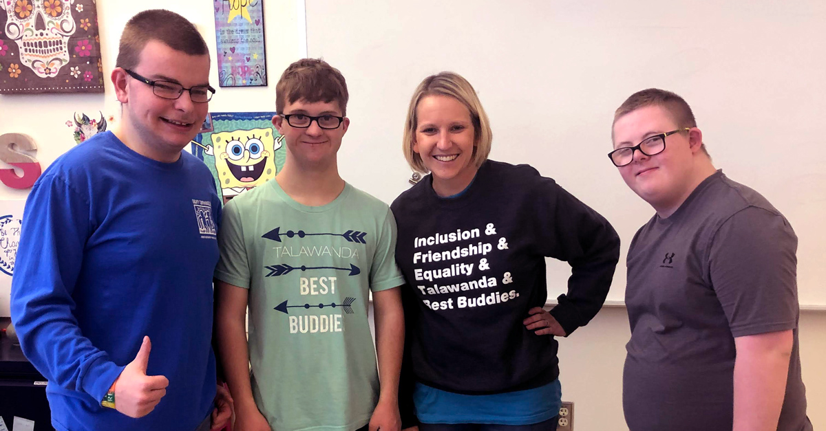 Ashley Sammons, Best Buddies in Ohio Chapter Advisor, pictured with Best Buddies participants