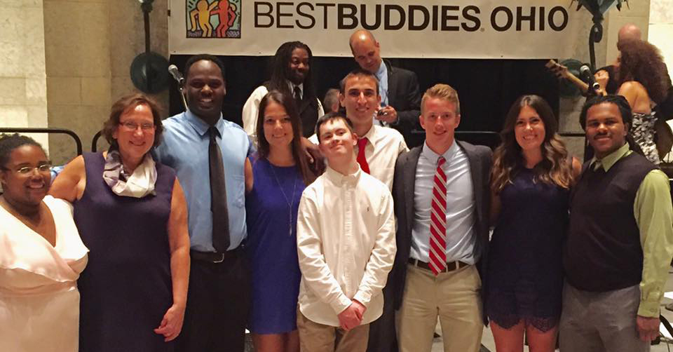 Best Buddies in Ohio participant Niles Dowe (far right) with friends
