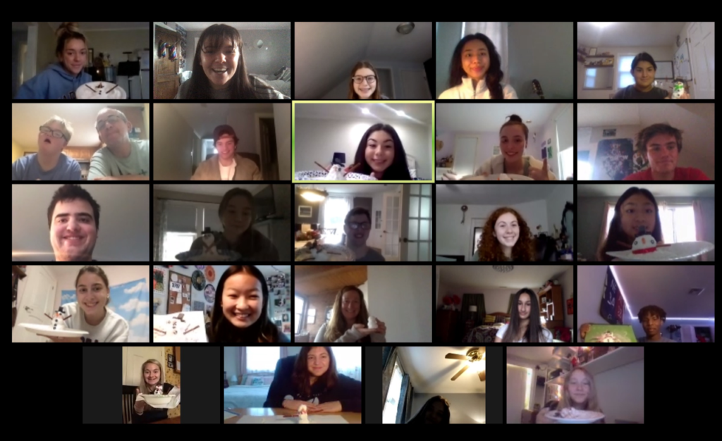 chapter members smiling during a video call