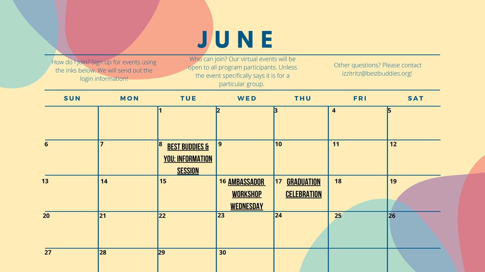 Best Buddies in North Carolina June Calendar