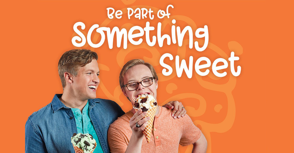 """Best Buddies Friendship participants since 2016, Stan and Drew eat ice cream cones as a part of a campaign partnership for Cold Stone Creamey and Best Buddies. The campaign slogan is, """"Be Part of Something Sweet."""""""