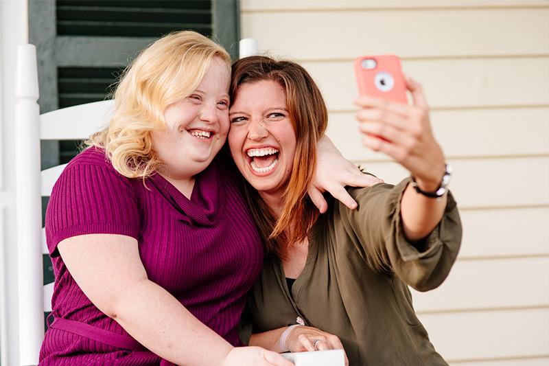 Female Buddy Pair taking a selfie