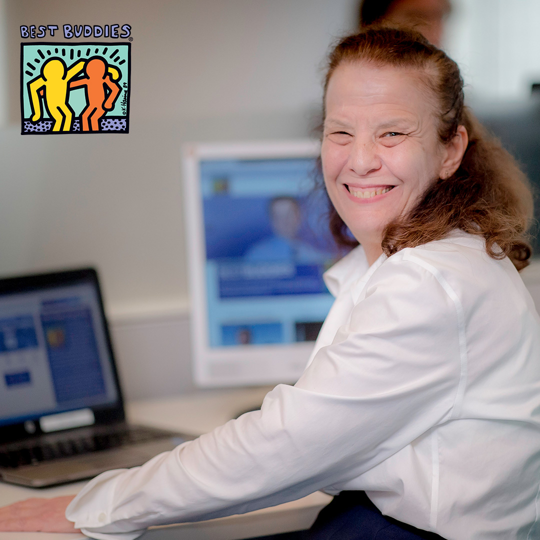 Female Best Buddies Jobs participant working at a computer